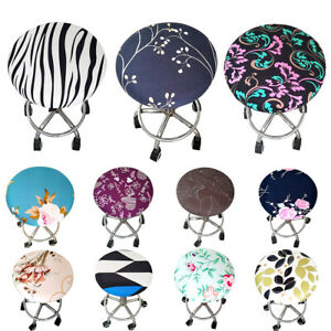 Round Chair Seat Slipcover Bar Stool Stretch Cushion Cover Protector Removable