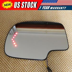 Mirror Glass Heated Turn Signal Driver Side LH for 2003-2007 Chevy GMC Cadillac