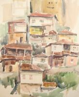 Vintage impressionist watercolor painting cityscape