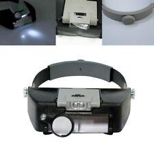 Magnifying Glass Lens LED Light Lamp Visor Head Loupe Jeweler Headband Magnifier