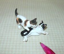 Miniature Pair of Cats, CALICO and BLACK/WHITE, PLAYING! DOLLHOUSE 1:12