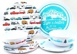 """New Camco Retro RV/ Camper """"Life If Better At The Campsite"""" Plastic Dishes 6 Pcs"""