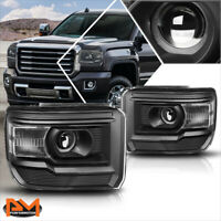 For 14-18 GMC Sierra Projector Black Housing Headlight Clear Corner Signal Lamps