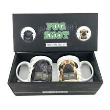 Set of 2 Pug Dog Shot Mugs, Bone China Set, Boxed.
