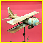 Rare Antique Vintage Metal Copper Bi Plane Weathervane Airplane Aeroplane