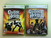 Guitar Hero Xbox 360 Lot - GH III Legends of Rock & World Tour w manuals 2 Games