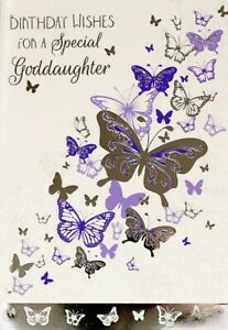"""Traditional Purple & Silver Butterflies """"SPECIAL GODDAUGHTER"""" Birthday Card"""