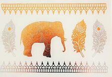 Temporary Tattoo, Einmal Tattoo, Gold Tattoo / SNT-019-D, Elefant und Federn