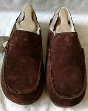 MEN'S OLUKAI MOLOA CASUAL LEATHER SLIPPER/SHOES SIZE 11 M DK JAVA BROWN NWT