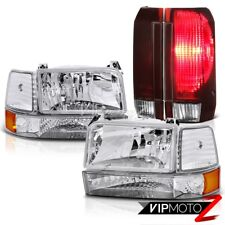 92 93 94 95 96 Ford F150 Rosso Burgundy Tail Brake Lights Clear Chrome Headlamps