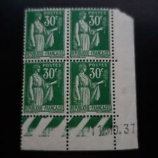 TIMBRE TYPE PAIX N°280 COIN DATÉ 11.10.1937 NEUF ** LUXE MNH
