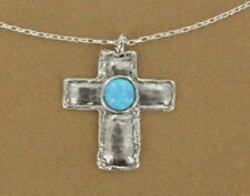"16"" Long Adjustable Turquoise and Silver Toned Cross Necklace"