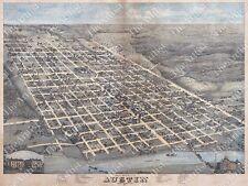 GIANT OLD HISTORICAL 1873 BIRD'S EYE AUSTIN TEXAS TRAVIS COUNTY WALL STREET MAP