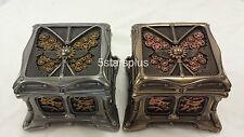 SET Steampunk Butterfly And Gears Trinket Box  (STEEL+ BRASS) (BRONZE + COPPER)