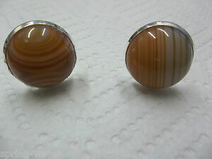 <>< Jewelry cufflinks natural agate cabs  hand set silver plated brass setting