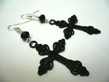 A PAIR OF LONG CRYSTAL & BLACK CROSS CRUCIFIX GOTH  MADONNA EARRINGS. NEW.