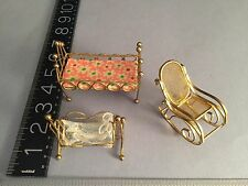 c1960's-70's Dollhouse Miniature Furniture Brass bed, cradle and rocking chair