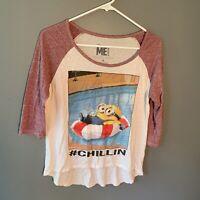 Despicable Me 2 Women's Juniors Size Medium Throwback T-Shirt Minion #Chillin
