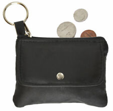 Black Genuine Leather Zip Coin Change Holder Flap Snap Purse Key Ring New