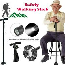 Safety Anti-skid Walking Stick Pivoting Base Folding Led Flashlight Walking Cane
