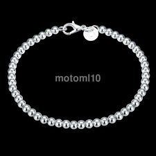 Fashion 925 Silver Plated 0.4cm Beads String Chain Bracelet Bangle Fine Jewelry