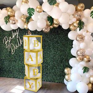 4Pcs Gold Baby Shower Transparent Box Storage Balloons Birthday Party Decor Gift