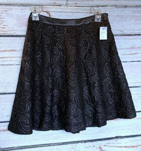 Size 0 Petite 0P - NWT ANN TAYLOR Black Lace Skater Skirt