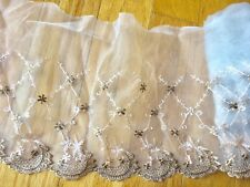 "Floral Embroidered Lace Trim with White Tulle for Sewing/Crafts/ 8.5"" Wide"