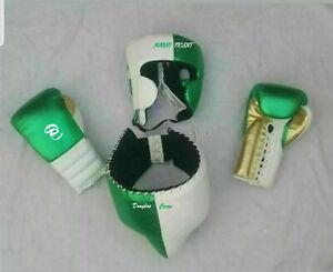 New Custom Made , Green & White, Boxing Gloves, Head Gear, Groin Guard,