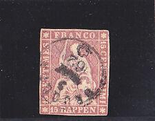 Schweiz-Sitzende Helvetia-Strubel-1859-Berner Druck IV-15 Rp.rosa/karmin-CH 24G