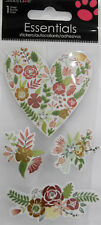 SANDYLION ESSENTIALS FLORAL HEARTS Scrapbook Craft Sticker Embellishment
