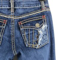 New UKnighted Stretch Jeans Embroidered Seams Pockets Made in USA Womens 32 NWT