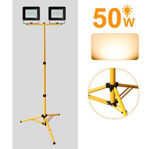 LED Baustrahler 2X50W Strahler Arbeitsstrahler mit Stativ Fluter