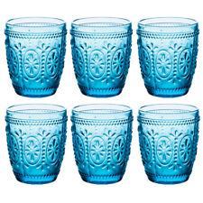 Middle East Style Water Glass, Juice Glass, Cap for 10 Oz. Color:Blue, Set of 6