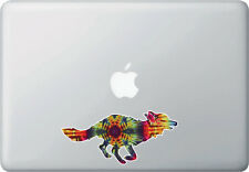 "CLR:MB - Rainbow Tie Dye Fox - Vinyl Macbook Laptop Decal © YYDC (6""w x 2.75""h)"