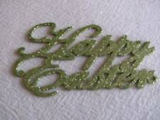 """Small Sage Green 4 1/2"""" """"Happy Easter Glittered Sign for Crafting, 6 Pieces"""