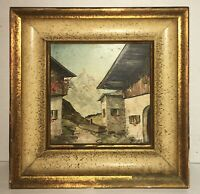 Beautiful Antique Alpine Miniature Painting CityScape Gothic Village Fine Artist