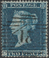 1858 SG36a 2d DEEP BLUE PLATE 6 FINE USED SCARCE LONDON 21 INLAND CANCEL (CB)