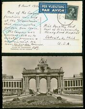 Mayfairstamps Belgium 1956 Brussel to Henry Ford Hospital Arch Entrance Postcard