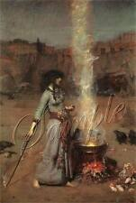 VINTAGE WITCH MAGIC CIRCLE WICCAN CAULDRON FIRE CROW SPELL CANVAS ART PRINT