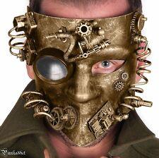 Steampunk Gear Mask Masquerade Halloween Costume Eye Face Gears Goggles Gold