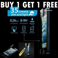 2 x NEW 100% GENUINE TEMPERED GLASS FILM SCREEN PROTECTOR FOR iPhone 5 5C  & 5s