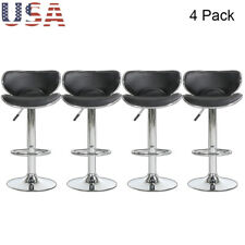 Set of 4 Bar Stools Hydraulic Swivel Dinning Bar Chairs Pu Leather Modern New