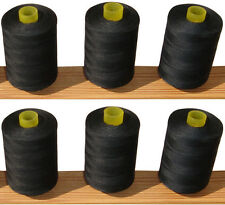 100% Cotton Sewing Thread *6 Large Black Spools / Reels