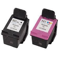 HP901XL Black+HP901 Color Reman Ink Cart 94% More Ink Officejet 4500 J4524 J4535