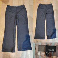 Women's NEXT Smart Work Trousers Wool Blend Size 10 Regular Chocolate Brown/Blue