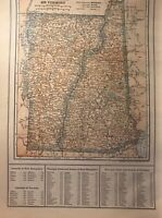 1908 & 1910 New Hampshire/Vermont & Nevada Maps Indian Reservations, Railroads
