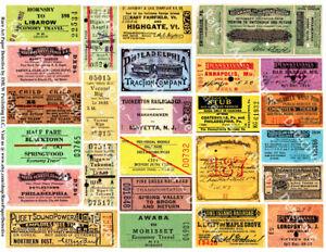 Train Ticket Stubs, Travel Paper Art, Railroad Ticket, Transportation Tags, Rail