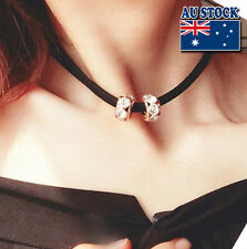 Whole Sale Fashion Women's Black Choker Necklace With Crystal Balls Pendant