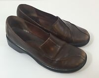 Women CLARKS Sz 7 Brown Leather Slip On Comfort Shoes 70423 Cushioned Insoles